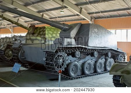 MOSCOW REGION RUSSIA - JULY 30 2006: German Sturmpanzer Grille 12 of World War II the Tank Museum Kubinka near Moscow