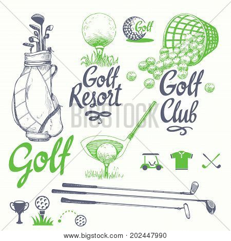 Golf set with buske, putter, ball, gloves, bag. Vector set of hand-drawn sports equipment. Illustration in sketch style on white background. Handwritten ink lettering.