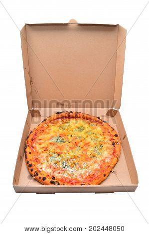 pizza quattro formaggi in cardboard box  over white