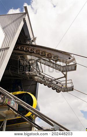 Ramsau Am Dachstein, Austria - August 17: Gondola With Tourists In The Upper Station Of The Dachstei