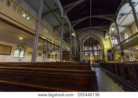 Windsor United Kingdom - 26 May 2017: View of the interior of St John the Baptist Windsor Parish Church.