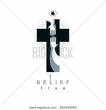 Christianity Cross true belief in Jesus vector symbol Christian religion icon. Hand of believer extends to the hand of God helping and love of Jesus.