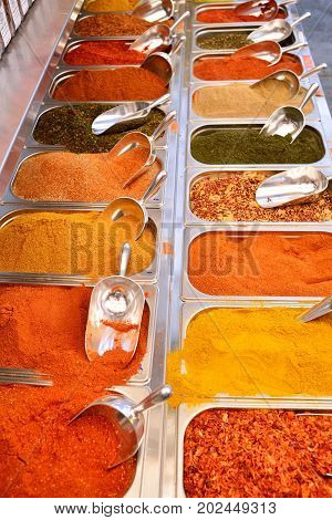 Cinnamon and anise at Mahane Yehuda famous market in Jerusalem. Different spicy seasonings. Eastern market. Bazaar. Israel