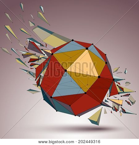 Abstract colorful 3d faceted figure with connected lines and dots. Vector low poly shattered design element with fragments and particles. Explosion effect.