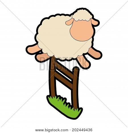 cute sheep jumping the fence vector illustration design