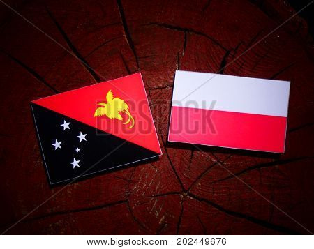 Papua New Guinea Flag With Polish Flag On A Tree Stump Isolated