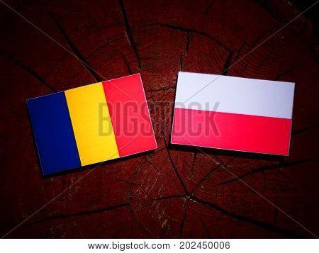 Romanian Flag With Polish Flag On A Tree Stump Isolated