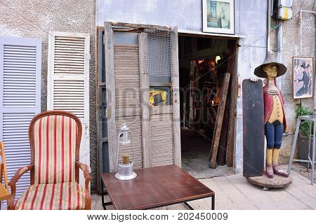 TEL AVIV ISRAEL - APRIL 2017: Flea market in the old city of Jaffa Tel Aviv. Old furniture second hand souvenirs and art objects.