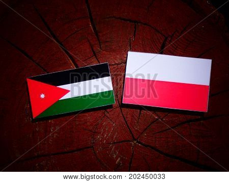 Jordanian Flag With Polish Flag On A Tree Stump Isolated
