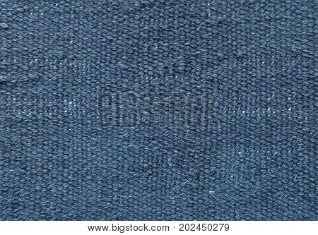 Textile Texture Close Up of Blue Sack or Burlap Fabric Pattern Background with Copy Space for Text Decoration.
