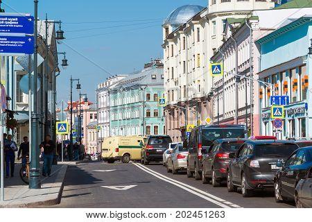 Moscow, Russia - August 31.2017. Sretenka Street, Crossroads with a Small Golovin Lane