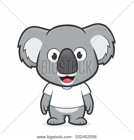 Clipart picture of a koala cartoon character wearing white t shirt