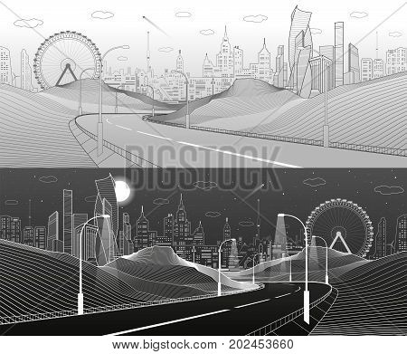 Highway in mountains. Infrastructure illustration. Modern city at background, tower and skyscrapers, business buildings, ferris wheel. Night scene. White lines. Vector design art