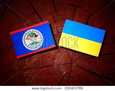 Belize Flag With Ukrainian Flag On A Tree Stump Isolated