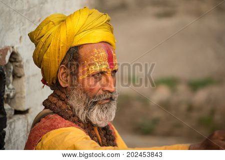 KATHMANDU, NEPAL - APRIL 17 2016: Yogi in Pashupatinath Temple of Kathmandu, Nepal.