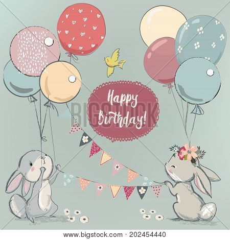 cute little hares with balloons. vector illustration