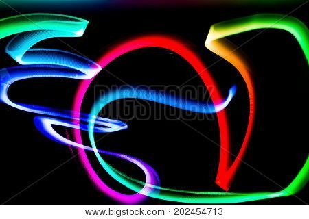 light lines  made with light painting of colors