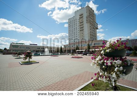 Kolomna Russia - August 9 2017: Kolomna Hotel On Blue Dramatic Sky On Soviet Square In Sunny Day Summer.