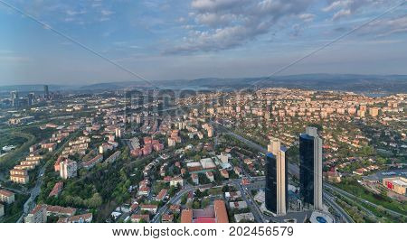 Istanbul city view from Istanbul Sapphire skyscraper overlooking the Bosphorus before sunset Istanbul Turkey