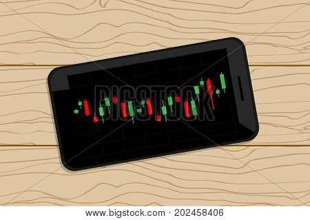 Mobile stock graph on wood table .
