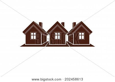 Simple cottages vector illustration country houses for use in graphic design. Real estate concept region or district theme. Building company abstract image.