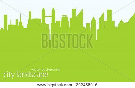 City skyline vector illustration. Urban landscape. green city silhouette. Cityscape in flat style. Modern city landscape.