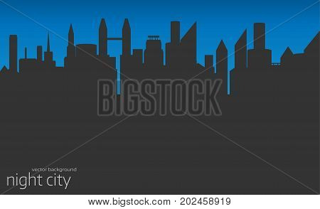 City skyline vector illustration. Urban landscape. Night city silhouette. Cityscape in flat style. Modern city landscape.