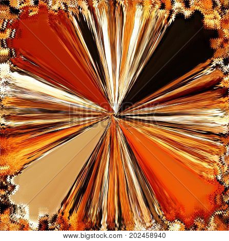 Abstract radial background with shiny beams in orange,yellow,white,black colors