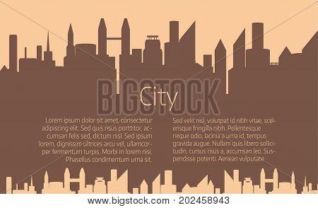 City skyline vector illustration. Urban landscape. Brown city silhouette. Cityscape in flat style. Modern city landscape.