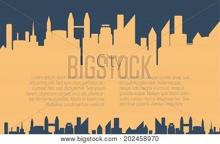 City skyline vector illustration. Urban landscape. City silhouette. Cityscape in flat style. Modern city landscape.