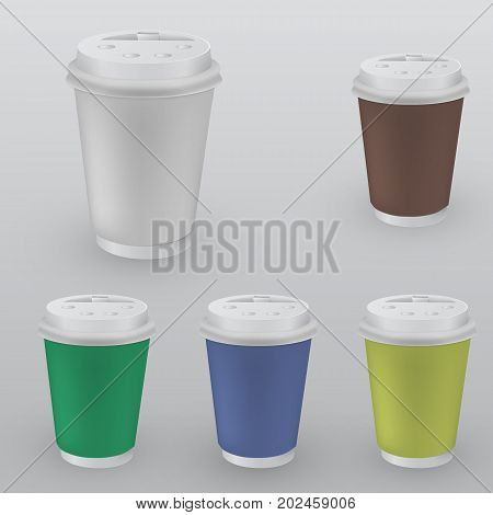 Set of plastic containers of coffee. Isolated mockup on a white background. Stock vector illustration.