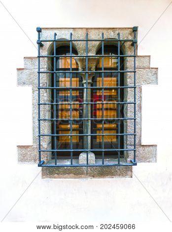 The windows at Tossa de Mar old town Vila Vella in Costa Brava of Catalonia masonry stone at Spain