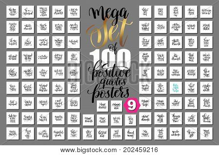 mega set of 100 hand lettering positive quotes posters about unicorn, mermaid, magic and dreams, calligraphy vector illustration big collection