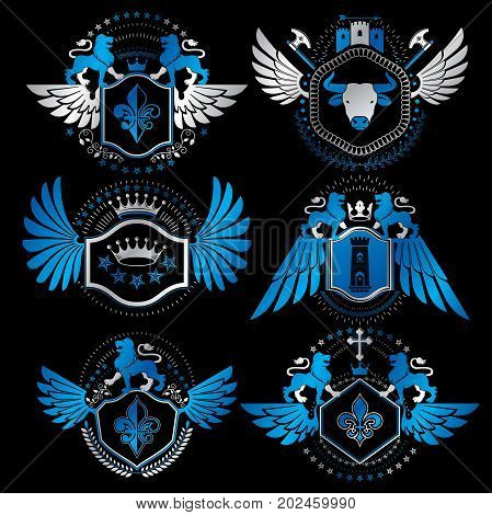 Vector classy heraldic Coat of Arms. Collection of blazons stylized in vintage design and created with graphic elements royal crowns and flags stars towers armory religious crosses. poster