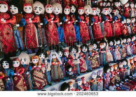Dolls in Armenian national costumes. Flea market Vernissage Yerevan, Armenia