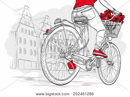 Bicyclist girl in red on city background, hand drawn vector illustration