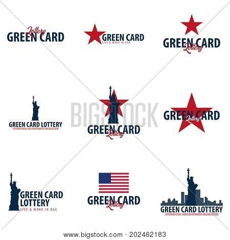Set Of Green Card Lottery Logos Or Emblems. Immigration And Visa To The Usa.