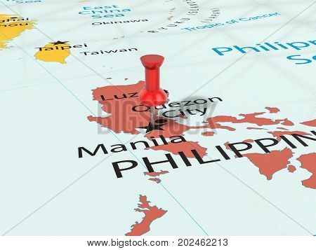 Pushpin On Manila Map  3D Illustration
