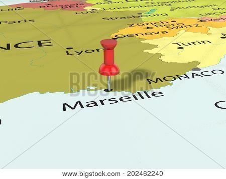Pushpin On Marseille Map  3D Illustration