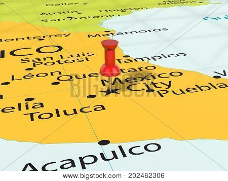 Pushpin On Mexico City Map  3D Illustration