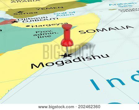 Pushpin On Mogadishu Map  3D Illustration