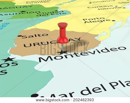 Pushpin On Montevideo Map  3D Illustration