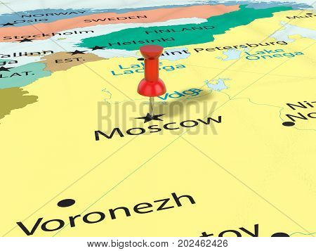Pushpin On Moscow Map  3D Illustration