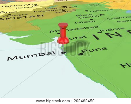 Pushpin On Mumbai Map  3D Illustration
