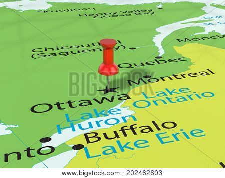 Pushpin On Ottawa Map  3D Illustration