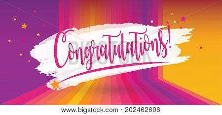 Congratulations! lettering on colorful abstract background with confetti stars decoration. Hipster style. Festive vector illustration