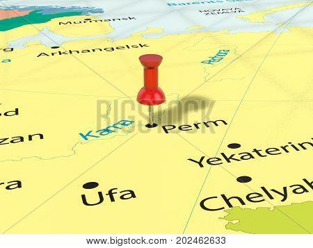 Pushpin On Perm Map  3D Illustration