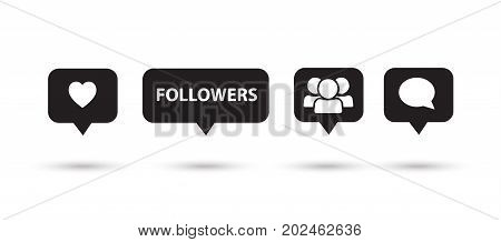 Set of speech bubbles buttons. Like, follower, heart, comment, icons. Speech bubbles logo collection vector, black color symbols on white background.