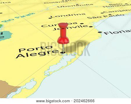 Pushpin On Porto Alegre Map  3D Illustration