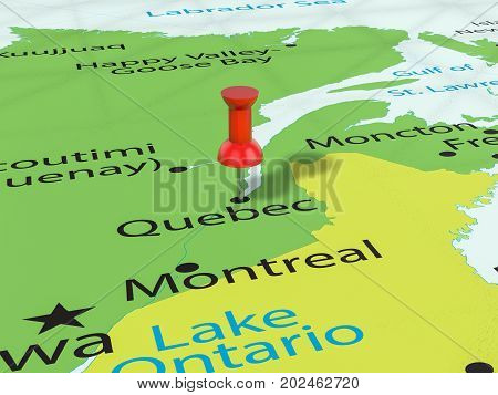 Pushpin On Quebec Map  3D Illustration